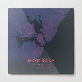 Mombasa, Kenya - Neon Metal Print