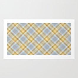 Yellow Gray Plaid Rug Art Print