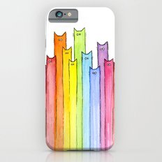 Cat Rainbow Watercolor Whimsical Animals Cats Pattern iPhone 6 Slim Case