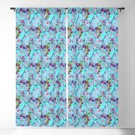 Art Deco Floral Fantasy Pattern in Aqua Background Blackout Curtain