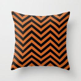 Black and Orange Chevron Pattern Throw Pillow