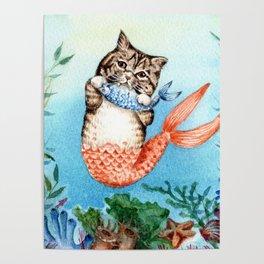 Cute Purrmaid Cat Mermaid Poster