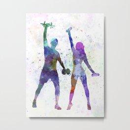 woman exercising with man coach Metal Print