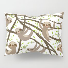funny and cute smiling Three-toed sloth on green branch tree creeper Pillow Sham