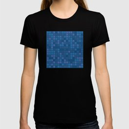 november blue geometric pattern T-shirt