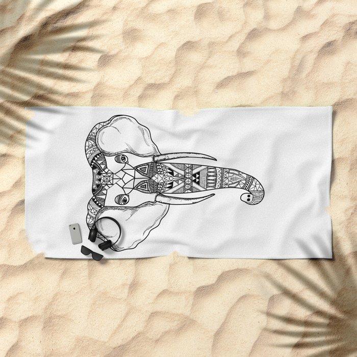Tribal Elephant Beach Towel