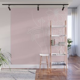 Minimal Line Art Woman with Flowers pink Wall Mural