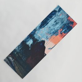 Delight: a vibrant abstract painting in blues and coral by Alyssa Hamilton Art Yoga Mat