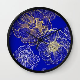 Wild Roses - Royal Blue & Golds Wall Clock