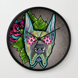 Great Dane with Cropped Ears - Day of the Dead Sugar Skull Dog Wall Clock