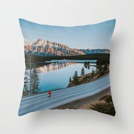 Two Jack Lake during sunrise Throw Pillow
