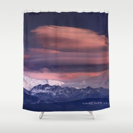 Lenticular clouds. Alayos mountains at sunset. Shower Curtain