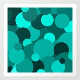Teal Circle Pattern Art Print