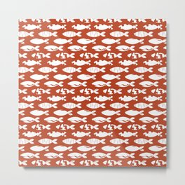 Grunge White Fishes on Terracotta Pattern Metal Print