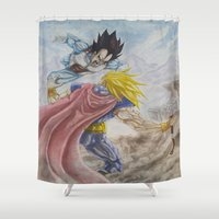 vegeta Shower Curtains featuring Vegeta V Thor by Kame Nico