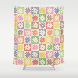 Colorful Flower Checkered Pattern Shower Curtain