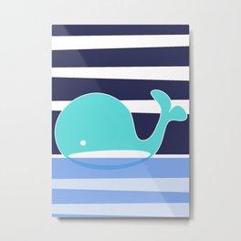 Whale Aquamarine Metal Print