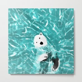 Playful Polar Bear In Turquoise Water Design Metal Print
