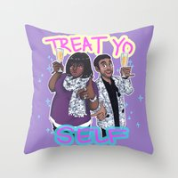 enerjax Throw Pillows featuring Treat Yo Self by enerjax