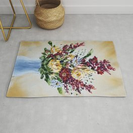 Fall Flowers Painting, Fall Bouquet, Autumn Colored Flowers, Farmhouse Flowers Rug
