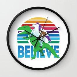 Retro Sloth Unicorn T-Rex Dinosaur Believe Wall Clock