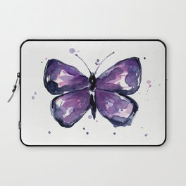 Purple Butterfly Watercolor Abstract Animal Art Laptop Sleeve