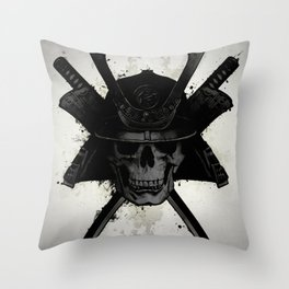 Samurai Skull Throw Pillow
