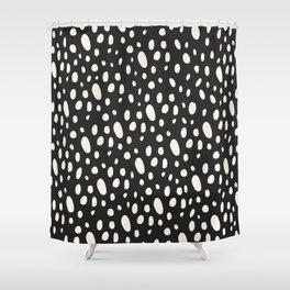 Bohemian Pebbles - Dark gray and cream dot pattern Shower Curtain