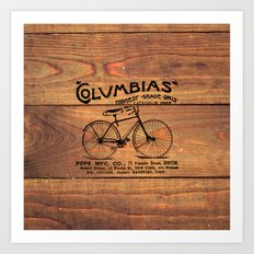 Black Brown Vintage American Bicycle on Wood Print Art Print