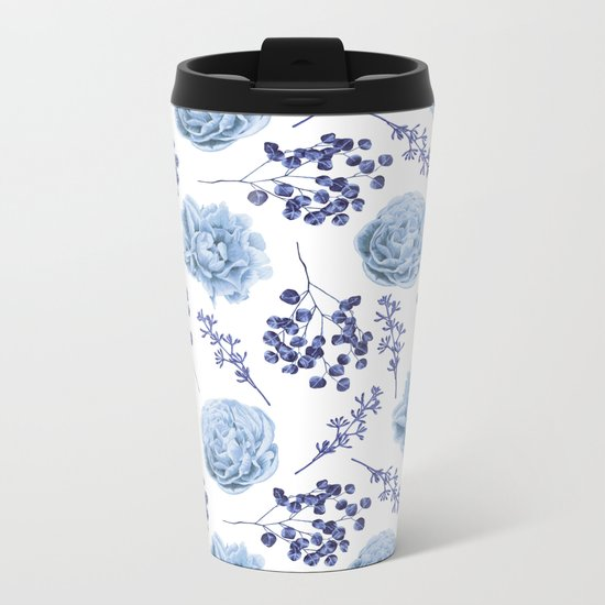 Sky Blue Roses Metal Travel Mug
