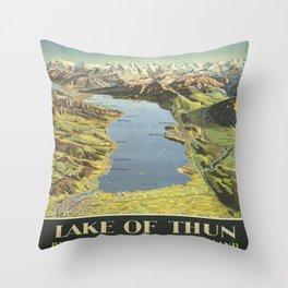 Vintage poster - Lake of Thun Throw Pillow