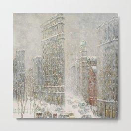Flatiron Building New York City, Winter landscape painting by Guy Carleton Wiggins Metal Print