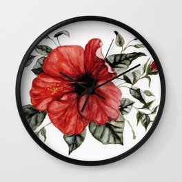 Blooming Red Hibiscus Wall Clock