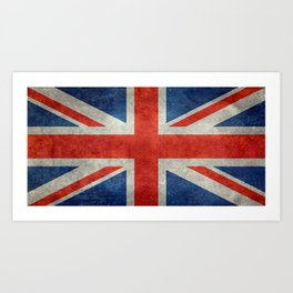 Union Jack flag, grungy retro 1:2 scale Art Print