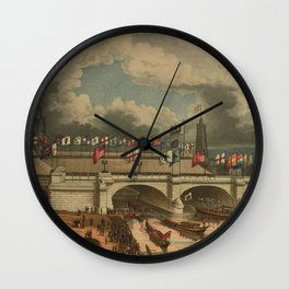 Vintage New London Bridge Illustration (1831) Wall Clock