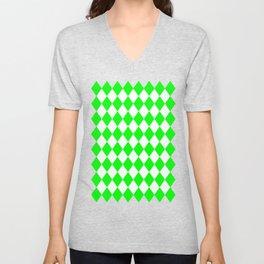 Rhombus (Green/White) Unisex V-Neck
