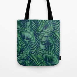 Night tropical palm leaves Tote Bag