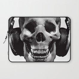 Hipster Skull Listening to Music on Headphones Laptop Sleeve