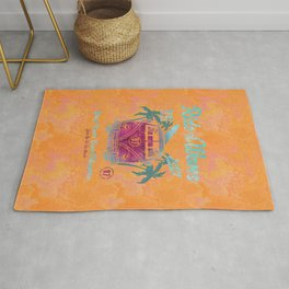 Ride The Waves Retro California Surf Poster Rug