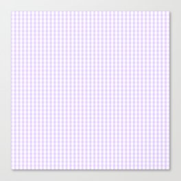 Chalky Pale Lilac Pastel and White Mini Gingham Check Plaid Canvas Print