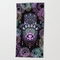 Pastel Hamsa amulet Beach Towel