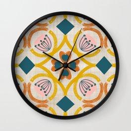 Hearts & Flowers on Linen Wall Clock