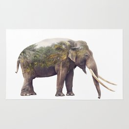 Double exposure of elephant and palm trees on white background Rug