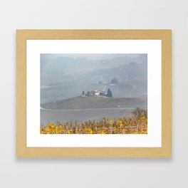 Scenic view of the freshly harvested grape fields in autumn in Barolo valley Framed Art Print