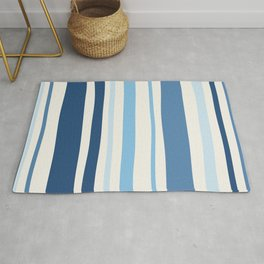 Abstract Striped Blue Art Print Rug