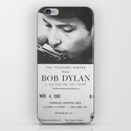 Bob Dylan Poster, 1961, First NY Concert iPhone Skin