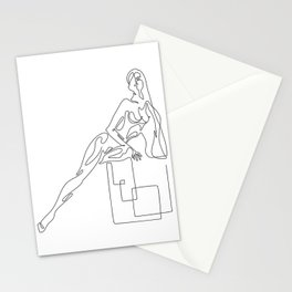 Minimal seductive one line art poster of woman's figure Stationery Cards