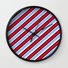 Red white Light blue diagonal stripe Wall Clock