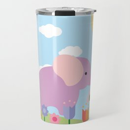 Purple Elephant and Balloons, nursery decor , Travel Mug
