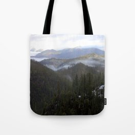 Snowy day on Highway 36 Tote Bag